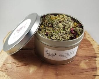 Anti-Anxiety Herbal Blend (16 oz. Tin): Certified Organic Mullein, Skullcap, Mugwort, Calendula, Rose Petals, Lavender