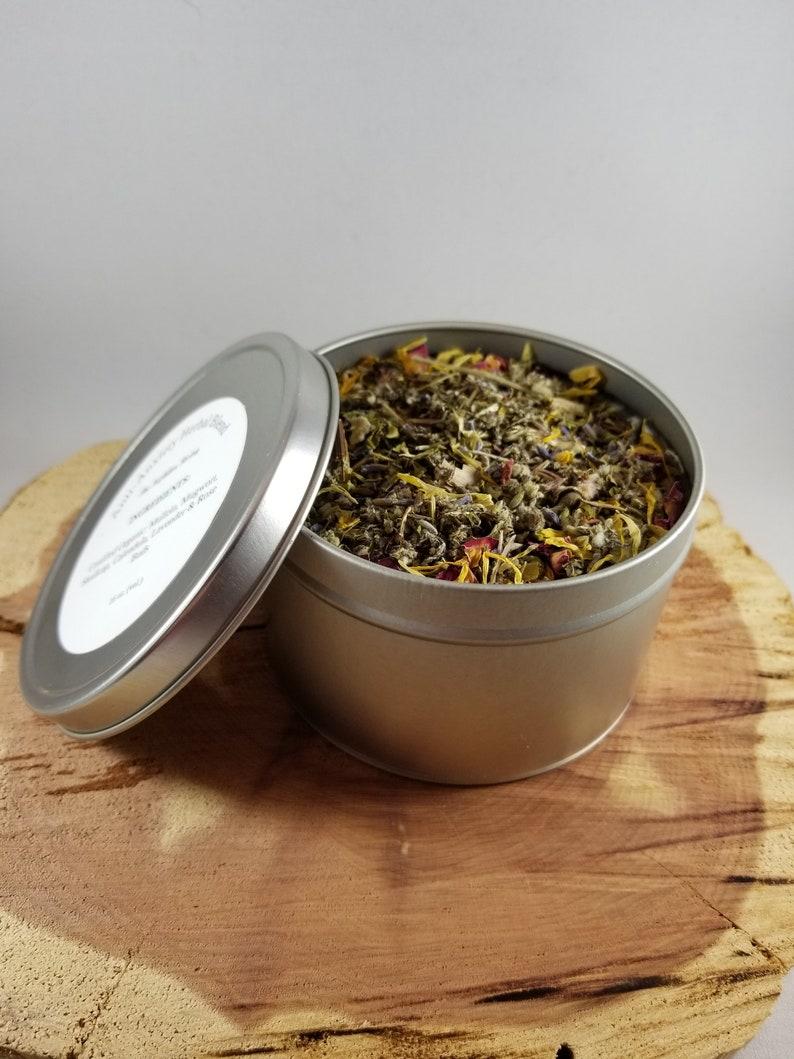 Anti-Anxiety Herbal Blend (16 oz  Tin): Certified Organic Mullein,  Skullcap, Mugwort, Calendula, Rose Petals, Lavender