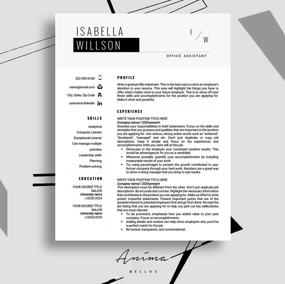 Resume Template Resume Modern Resume Pdf Resume Format Cv Professional Resume Template Cover Letter Curriculum Vitae Job Kanax