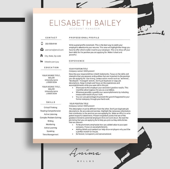 resume cv maker resume template resume design cv template etsy