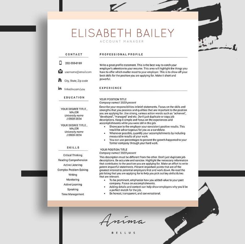 Resume Cv Maker Resume Template Resume Design Cv Template Etsy