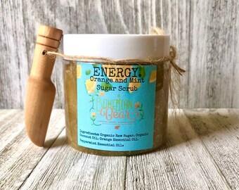 Energizing Organic Sugar Scrub , All Natural Body Scrub , Orange and Mint Scrub , Organic Body Polish , Sugar Scrub