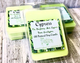 Cypress Scented All Natural Soy Wax Melt , Pine Scented Candle , Earthy Scented , Bohemian Scents Candle , Handmade  Candle , 6 piece Ounce