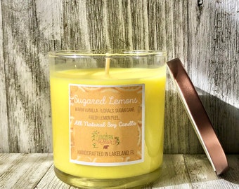 Sugared Lemon Scented All Natural Soy Wax Candle , Lemon Scented Candle , Fresh and Citrus Candle , Handmade  Candle , 9 Ounce