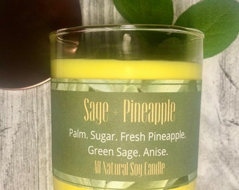 Sage + Pineapple Scented All Natural Soy Candle , Herbal Candle , Essential Oil Candle , Sage Scented , Tropical Scented , Pineapple Gift