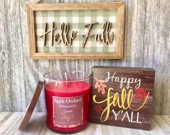Apple Orchard All Natural Soy Wax Candle , Fresh Apple Soy Candle , Fall Candle , Luxury Candle , Organic Candle, Handmade  Candle , 9 Ounce