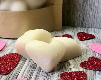 Heart Shaped All Natural Soy Wax Melts - Heart Wax Melts - Valentines Day Candles - Bakery Scented Candles - Wax Tarts - Flameless Candles
