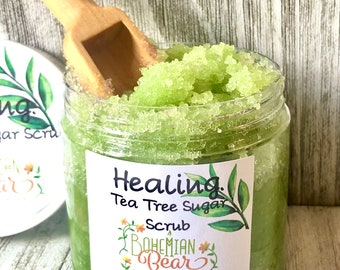 Healing Organic Sugar Scrub , All Natural Tea Tree Body Scrub , Soothing Body Scrub, Tea Tree Body Scrub , Organic Body Polish , Sugar Scrub