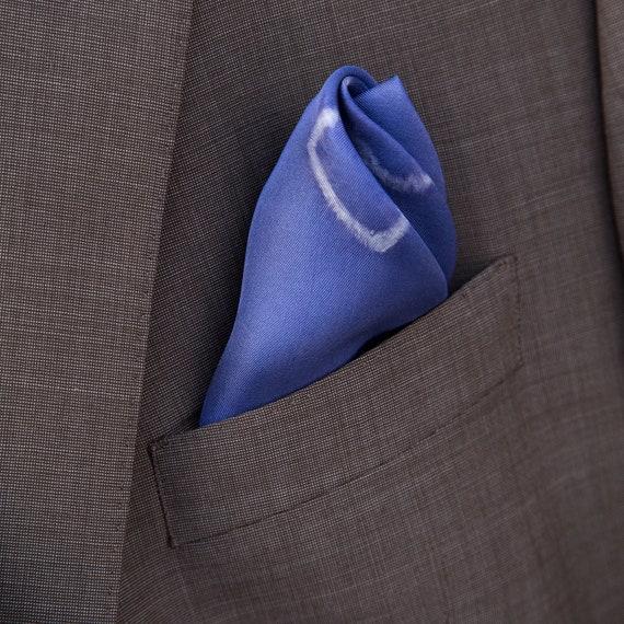 Silk Pocket Square , Men\u0027s suit pocket square , Blue Shibori