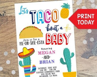 Gender Reveal Invitation, Taco Bout a Baby, Taco Party, Baby Shower, Fiesta, Boy or girl, Cactus, Fiesta Shower, Editable Invitation, Baby