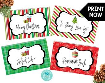 christmas food label etsy
