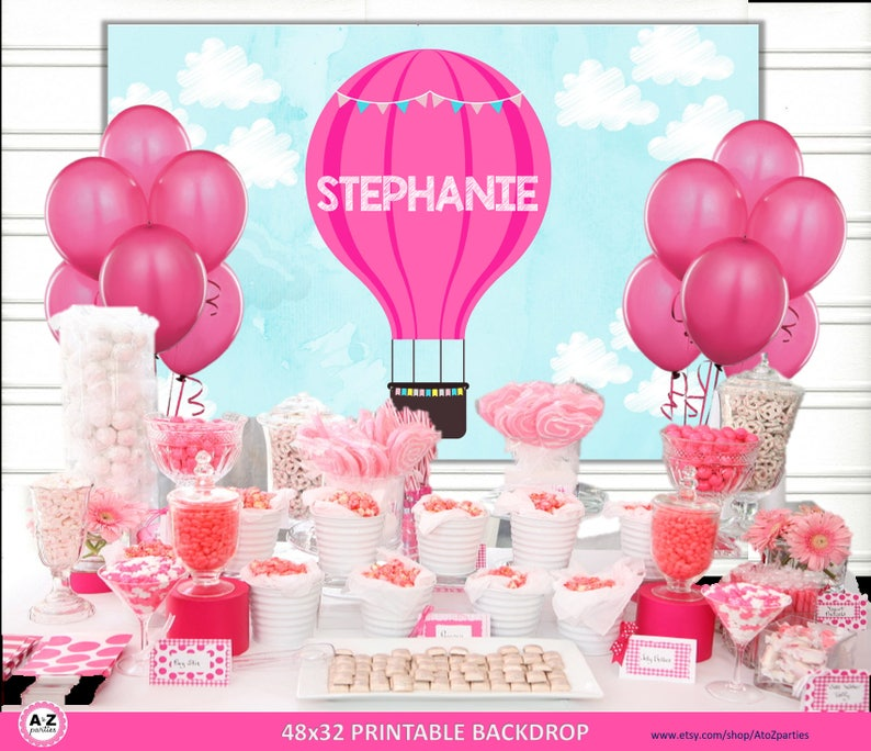 Hot Air Balloon Table Backdrop Editable Download File Up Etsy