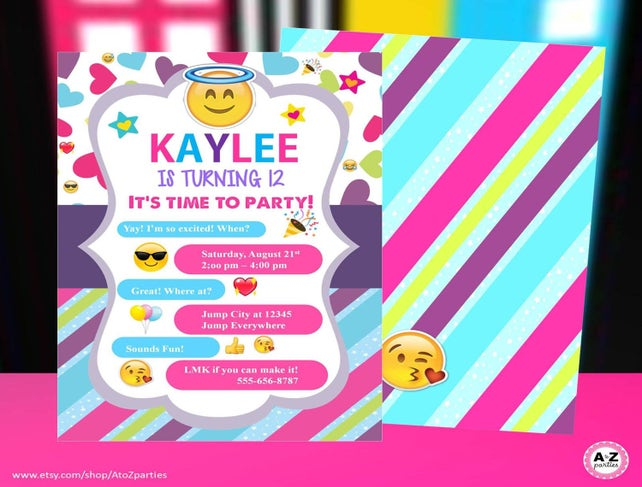 Emoji Party Invitation Personalized Printable DIY