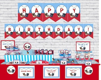 Puppy Dog Pals Birthday - Puppy Dog Pals Party Decorations- Instant Download - Cupcake Toppers - banner - Sign - Puppy Dog Pals red and blue