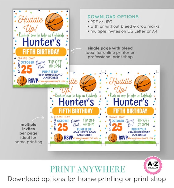 Basketball Party Invitation Ball Game Time Huddle Up Basketball Sports Party Invitation Kid Party Download Edit Print Today