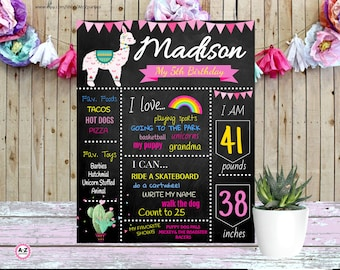 Llama Chalkboard Design, llama Decorations, llama Chalkboard, Milestone Birthday, Editable File, Demo Below, Save, Cactus, Fiesta, Llama