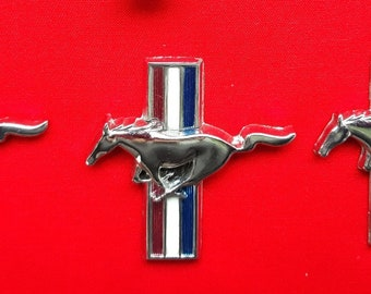 0c27b55b2f4e9 Vintage 3 Pieces Original Ford Mustang Fomoco Chrome Flat Emblems Running  Horse Tri Bar Logo Badges Driver Side Door Genuine Car Parts-Used