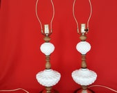 Vtg Pair Fenton Quilted Milk Glass Wood Brass Plated Metal Tall Lamps w Harps 3 way Shabby Chic Accent Lighting Dresser Desk End Table Lamps