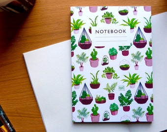 Plant pattern notebook - Lined or plain paper  |  gardening  |  sketchbook | succulents & terrariums