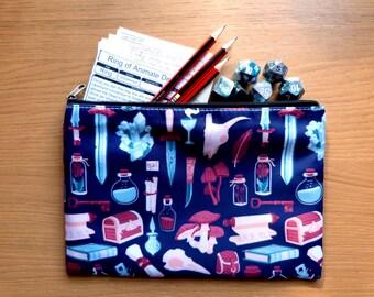 Fantasy pattern zip case - dice bag - pencilcase - DS case - wash bag - make up bag - D&D / RPG / tabletop storage