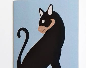 Cat Greetings Cards, Cat Birthday Cards, Designer Cat Greetings Cards, Black Cat Greetings Card, Bespoke Cat Greetings Card, Black Cat Cards