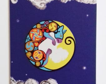 Cat and Moon, Cat and Moon Card, Cat Greetings Card, Cat Birthday Cards, Designer Cat Greetings Card, Cat Lover Cards, Crazy Cat Lady Cards,