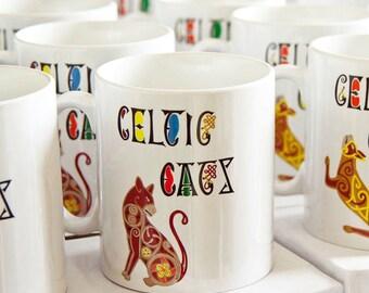 Cat Coffee Mugs, Designer Cat Mugs, Celtic Cat Mugs, Cat Lover Gifts, Mugs for Cat Lovers, Cat Art Coffee Mug, Crazy Cat Lady Gift, Cat Mug
