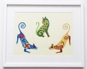 Cat Wall Art, Cat Art Print, Celtic Cat Art Print, Designer Cat Art Print, Oringnal Cat Art Print, Gift for Cat Lovers, Bespoke Cat Art