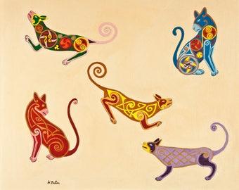 Cat Wall Art, Cat Wall Decor, Original Cat Painting, Designer Cat Art, Original Cat Art, Cat Lover Gift, Acrylic Cat Painting, Cat lover Art
