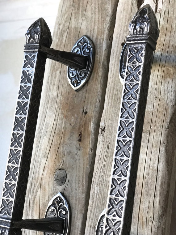 gothic 16 vintage cast iron door pulls custom made etsy
