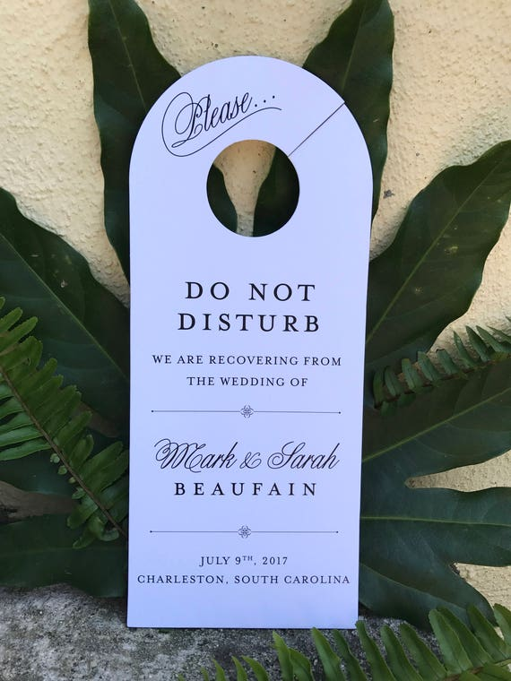 wedding door hangers do not disturb sign wedding hangover etsy