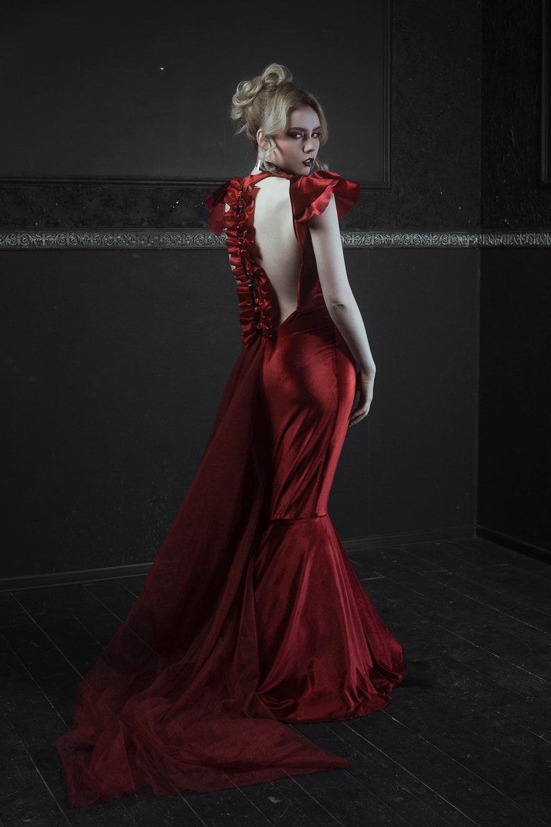 bd4b7a0f332 Red Velvet Gothic Victorian Bustle Gown Vampire Masquerade