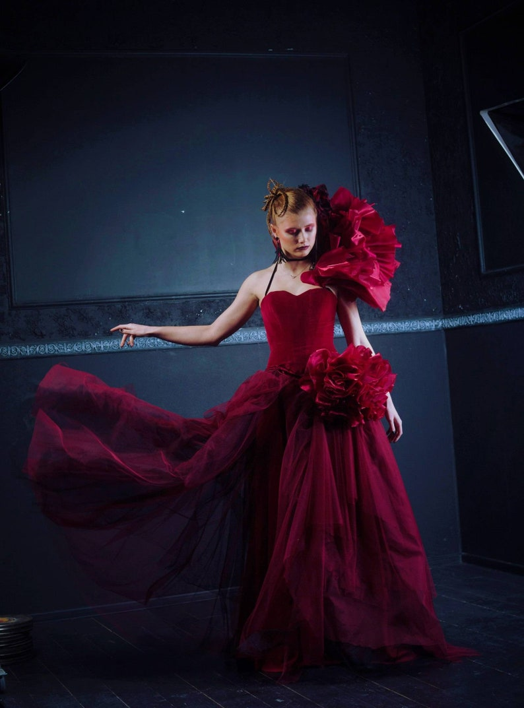 b9a7b2b4de3 Overbust corset red velvet evening dress Gothic red wedding