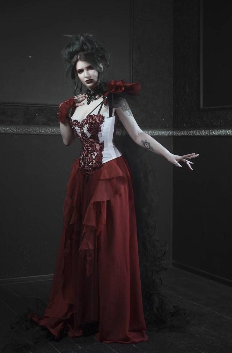 0e55b3de700 Overbust corset dress Gothic wedding dress Couture dress