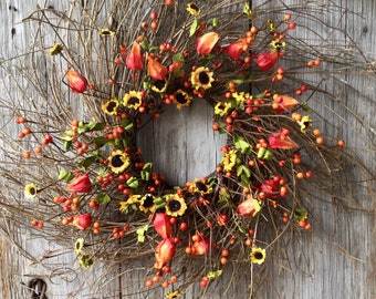 Extra Large Twig Wreath with Mini Sunflowers, Chinese Lanterns and Berries