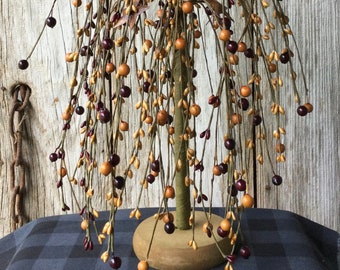Weeping Willow Tree with Mixed Burgundy and Mustard Berries