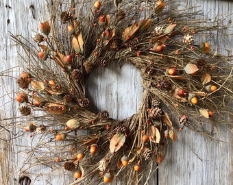 Rustic Autumn Wreath with Pip Berries, Acorns and Fall Leaves