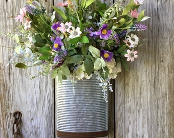 Metal Wall Pocket with Summer Flowers