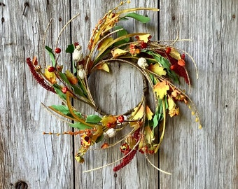 Fall Candle Ring with Sunflowers and Pods
