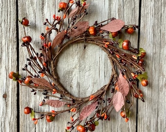 Fall Candle Ring with Pip Berries and Baby Pumpkins