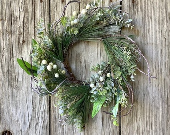 Snowy Pine Wreath with White Berries