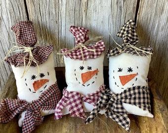 Set of 3 Primitive Stuffed Snowmen