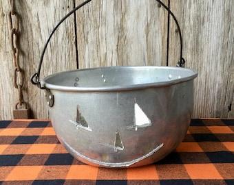 Vintage Aluminum Pot with Pumpkin Face