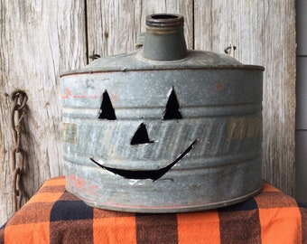 Vintage Gas Can with Pumpkin Face