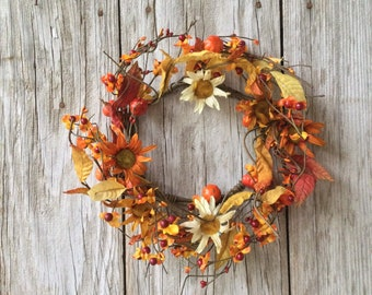 Fall Wreath with Daisies, Pumpkins and Bittersweet