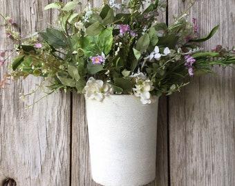 Rustic Metal Wall Bucket with Hydrangeas and Greenery