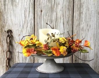 Pedestal Candle Holder with Sunflower and Pine Cone Candle Ring