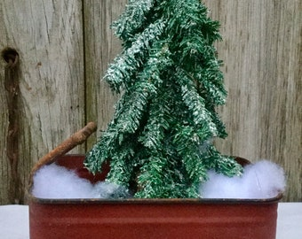 Rustic Red Wagon with Snow and Pine Tree