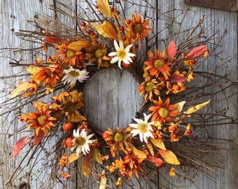 Twig Wreath with Mini Pumpkins, Fall Daisies, and Berries