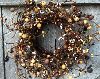 Fall Wreath-Pip Berry Candle Ring-Small Grapevine Wreath-Pip Berry Wreath - Fall Centerpiece-Primitive Wreath-Rustic Wreath - Free Shipping